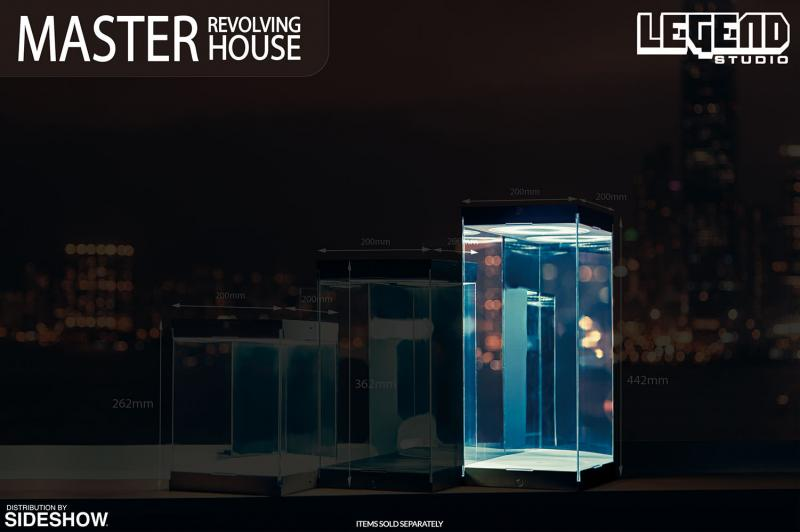 Master Revolving House Black Light Up Display Case for Sixth Scale Figure