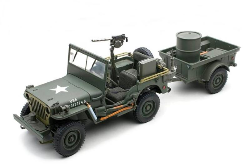 Jeep Willys And Trailer Plus Accessories Army Green 1/18 Die-Cast Vehicle