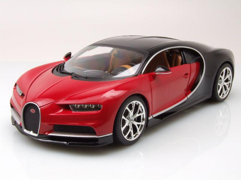 Bugatti Chiron 2016 Red Black 1/18 Die-Cast Vehicle