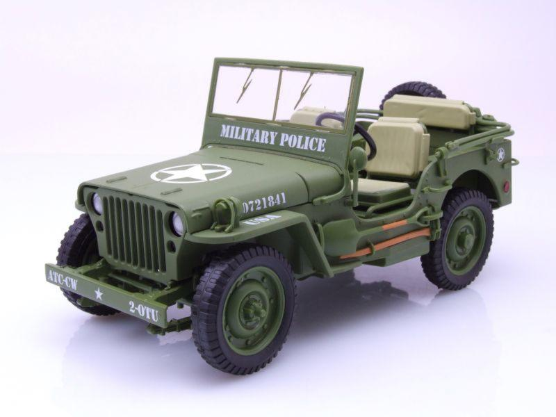 Jeep Willys Fire Military Police Green 1/18 Die-Cast Vehicle