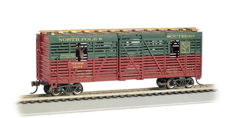 North Pole & Southern #12014 HO REINDEERS GREEN RED Animated Livestock Car Wagon  vagón s pohybem hlav sobů