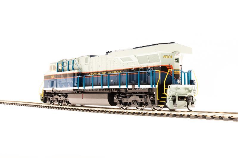 Diesel Locomotive HO, 2814 GE ES44AC, Paragon3 Sound DC DCC, NS #8101,  Central of Georgia Heritage Paint