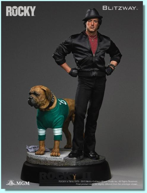 Sylvester Stallone As Rocky II and His Pet Dog Quarter Scale Statue Set