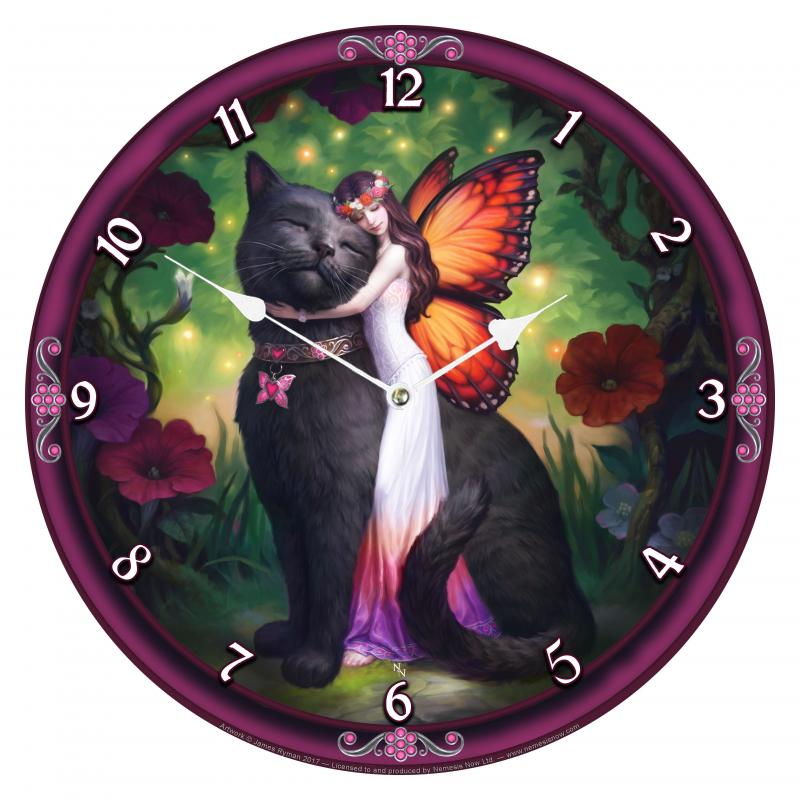 Cat and Fairy Wall Clock nástěnné hodiny