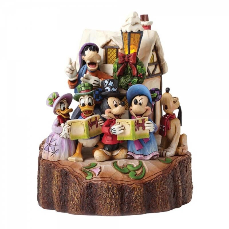 Mickey Mouse, Minnie Mouse, Donald Duck, Pluto, Goofy And Gang Carolling Statue Diorama