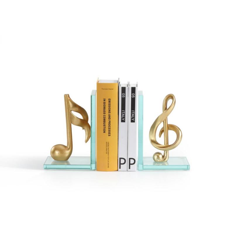 Musical Notes Gold Glass and Resin Bookends  umělecké knižní zarážky