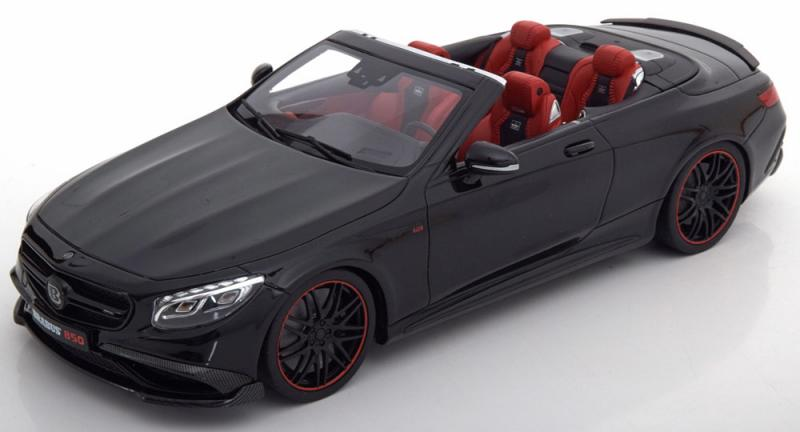 BRABUS Mercedes 850 S Class Cabrio Obsidian Black 1/18 Die-Cast Vehicle
