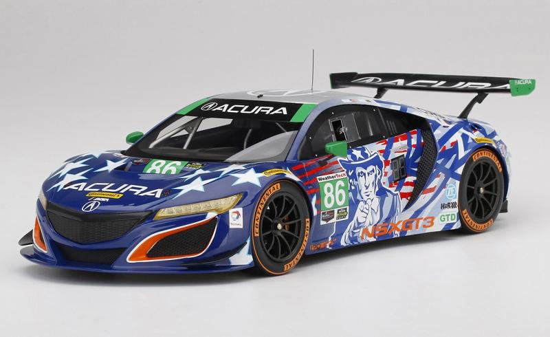 Honda Acura NSX GT3 No. 86 Uncle Sam 2017 IMSA Championship Racing Livery 1/18 Die-Cast Vehicle