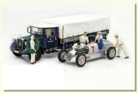 5 GP Personnel Figures + Mercedes-Benz LO 2750 Racing Car Transporter Truck Blue 1/18 Die-Cast Vehicle with Mercedes W25 T-Car Set