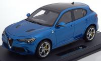 Alfa Romeo Stelvio Q4 Quadrifoglio 2.9 V6 Bi-Turbo Light Blue Metallic 1/18 Die-Cast Vehicle