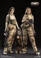 JENNER The Two Camouflaged Female Soldiers & German Shepherd Dog Sixth Scale Collector Figure Set