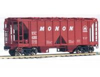 70 Ton Open Side HO RED Covered 2-Bay Hopper Car