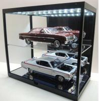 Mirror Back USB LED Light-Up Black Show Case for 1/18 Model Car Vehicles výstavní vitrína na modelářská auta